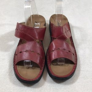 Clark's Red Leather Sandals size  11 Narrow